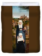 Old Woman At Prayer With St. Anne Duvet Cover