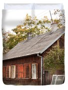 Old Wooden House With Tar Duvet Cover