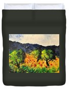 Olive Trees And Poppies  Duvet Cover
