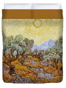 Olive Trees With Yellow Sky And Sun Duvet Cover