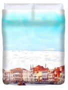 On A Boat Trip On The Grand Canal In The Beautiful City Of Venice In Italy Duvet Cover
