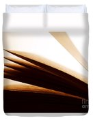 Open Old Book With Pages Fluttering Duvet Cover