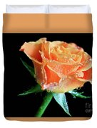 Orange Peach Rose Duvet Cover by Tracy Hall
