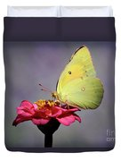 Orange Sulphur Butterfly Portrait Duvet Cover