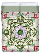 Orchids And Stone Wall Kaleidoscope 1764 Duvet Cover