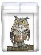 Owl In Pose Duvet Cover