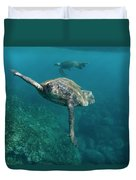 Pacific Green Sea Turtle Chelonia Mydas Duvet Cover