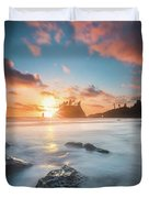 Pacific Sunset At Olympic National Park Duvet Cover