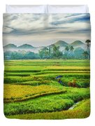 Paddy Rice Panorama Duvet Cover by MotHaiBaPhoto Prints