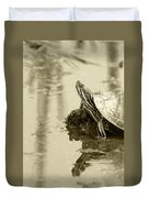 Painted Turtle On Mud In A Marsh Duvet Cover