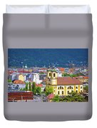 Panoramic Aerial View Of Innsbruck And Hafelekarspitze Mountain Duvet Cover