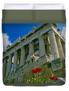 Parthenon With Poppies Duvet Cover