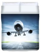 Passenger Airplane Taking Off On Runway Duvet Cover