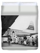 Passengers Boarding Airplane Duvet Cover