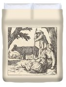 Peasant Couple With Cow Duvet Cover
