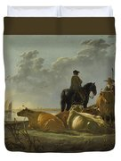 Peasants And Cattle By The River Merwede Duvet Cover