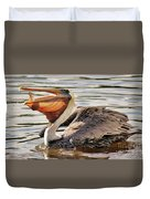 Pelican Catching A Fish Duvet Cover