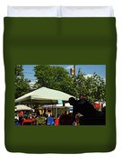 People At Food Event Duvet Cover