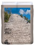 People Climbing Nohoch Mul At The Coba Ruins  Duvet Cover