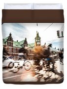 People Cycling In Copenhagen Duvet Cover
