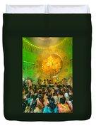 People Enjoying Inside Durga Puja Pandal Durga Puja Festival Duvet Cover