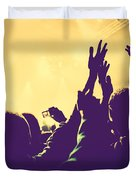 People With Hands Up In Night Club Duvet Cover