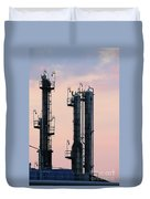 Petrochemical Plant Industry Zone Twilight Duvet Cover