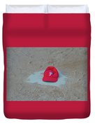 Phillies Hat On Home Plate Duvet Cover