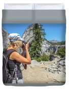 Photographer In Yosemite Waterfalls Duvet Cover