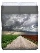 Pick A Side - Colorful Fields Divided By Road On Stormy Day In Oklahoma. Duvet Cover