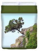 Pine Tree On A Rock Duvet Cover