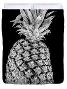 Pineapple Isolated On Black Duvet Cover