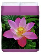 Pink Blooming Lotus Duvet Cover