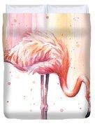 Pink Flamingo - Facing Right Duvet Cover