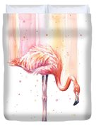 Pink Flamingo - Facing Right Duvet Cover