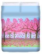 Pink Garden, Oil Painting Duvet Cover