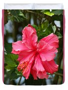 Pink Hibiscus Flower On A Tree Duvet Cover