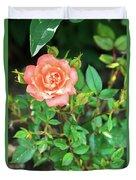 Pink Rose In The Garden Duvet Cover