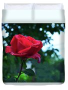Pink Rose With Dew Drops Duvet Cover
