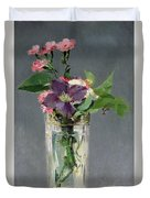 Pinks And Clematis In A Crystal Vase Duvet Cover