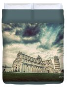 Pisa Cathedral With The Leaning Tower Of Pisa, Tuscany, Italy. Vintage Duvet Cover
