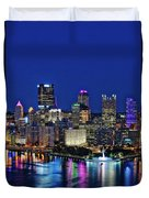 Pittsburgh Night Skyline Duvet Cover