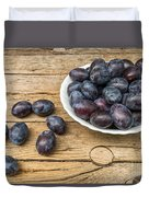 Plate Full Of Fresh Plums On A Wooden Background Duvet Cover