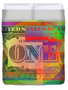 Pop-art Colorized One U. S. Dollar Bill Reverse Duvet Cover