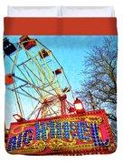 Portable Ferris Wheel Victorian Winter Fair Duvet Cover