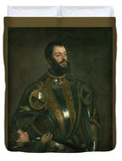 Portrait Of Alfonso D'avalos Marquis Of Vasto In Armor With A Page Duvet Cover