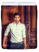 Portrait Of Young Businessman. Duvet Cover