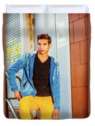 Portrait Of Young Man In New York Duvet Cover
