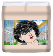 Portrait With Adonit Pixel. Duvet Cover