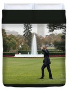 President Obama - White House South Lawn #1 Duvet Cover